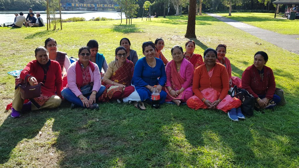 Nepalese grandparents at local park in Sydney