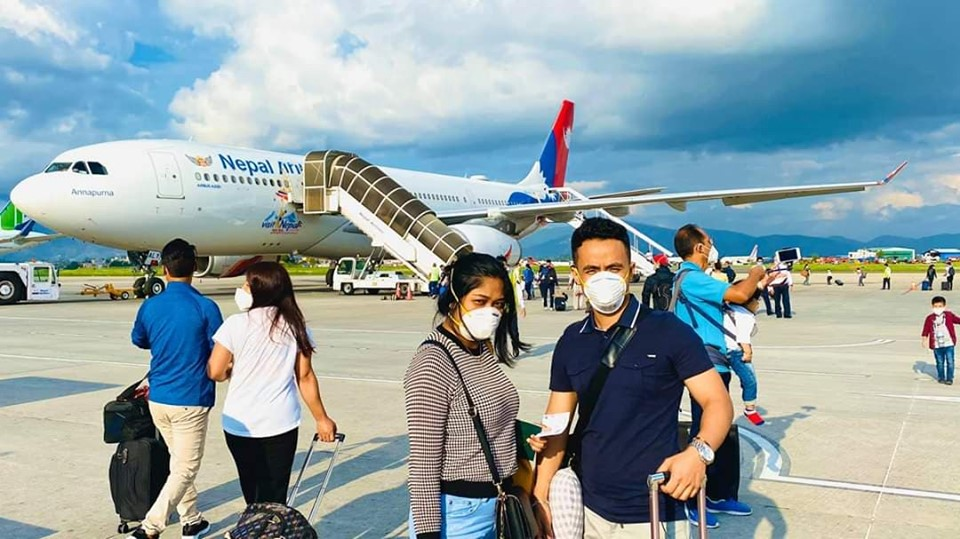 The Nepal Airlines repatriation flight from Kathmandu to Canberra