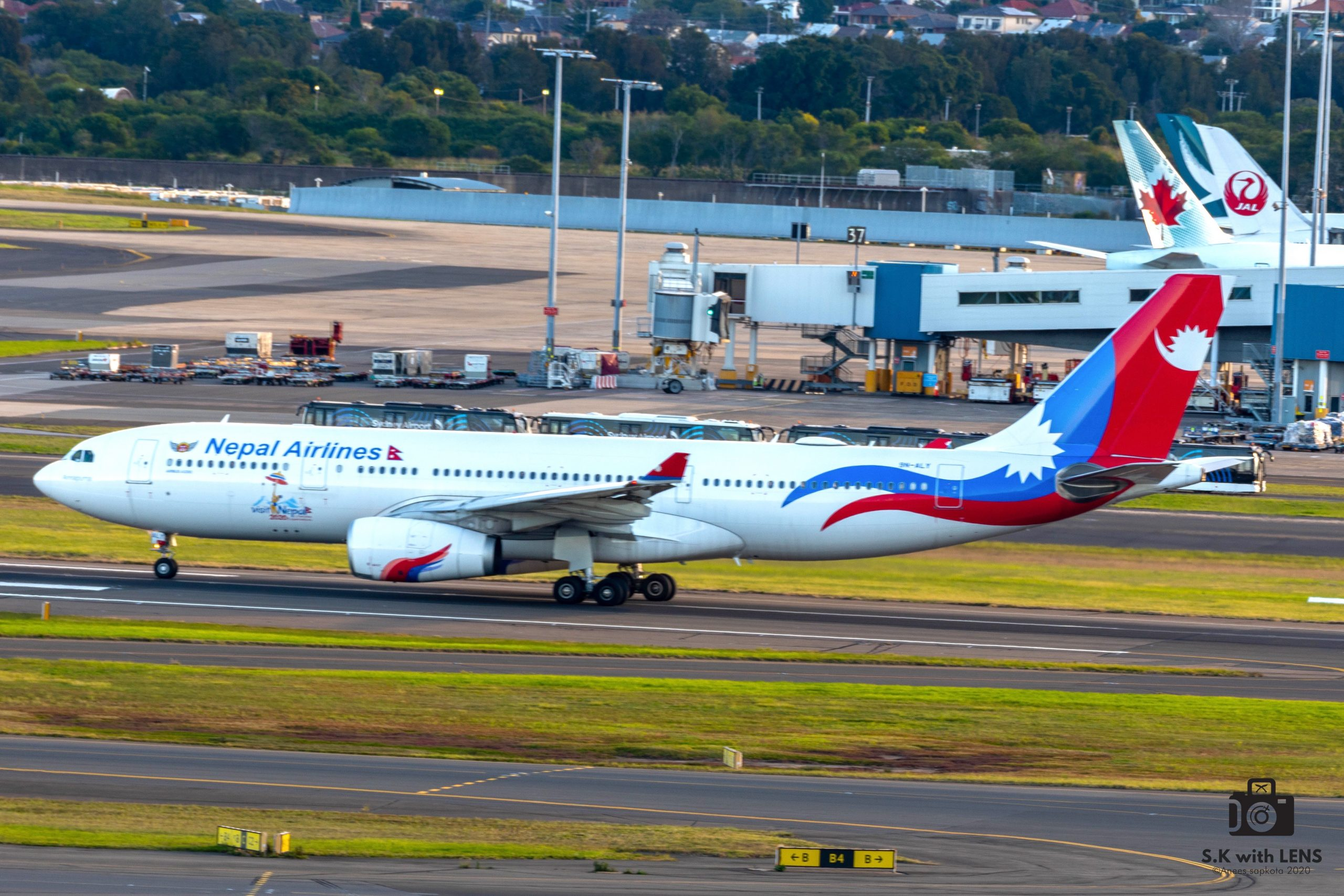 The Nepal Airlines repatriation flight from Sydney to Kathmandu
