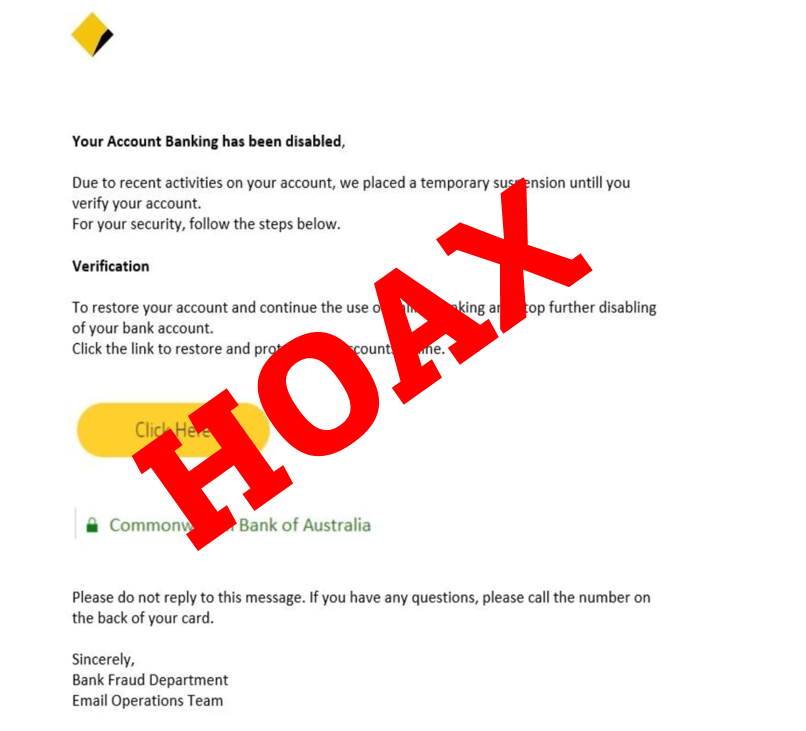 Urgent warning over Comm Bank email scam