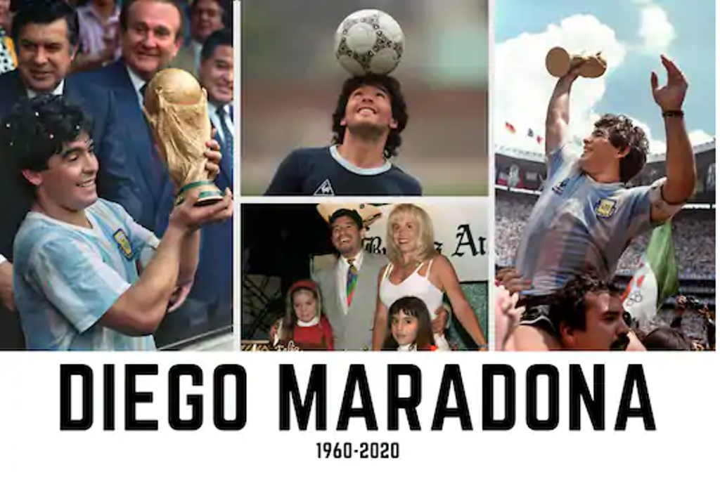 Tribute to Argentine soccer great Diego Maradona who died at the age of 60