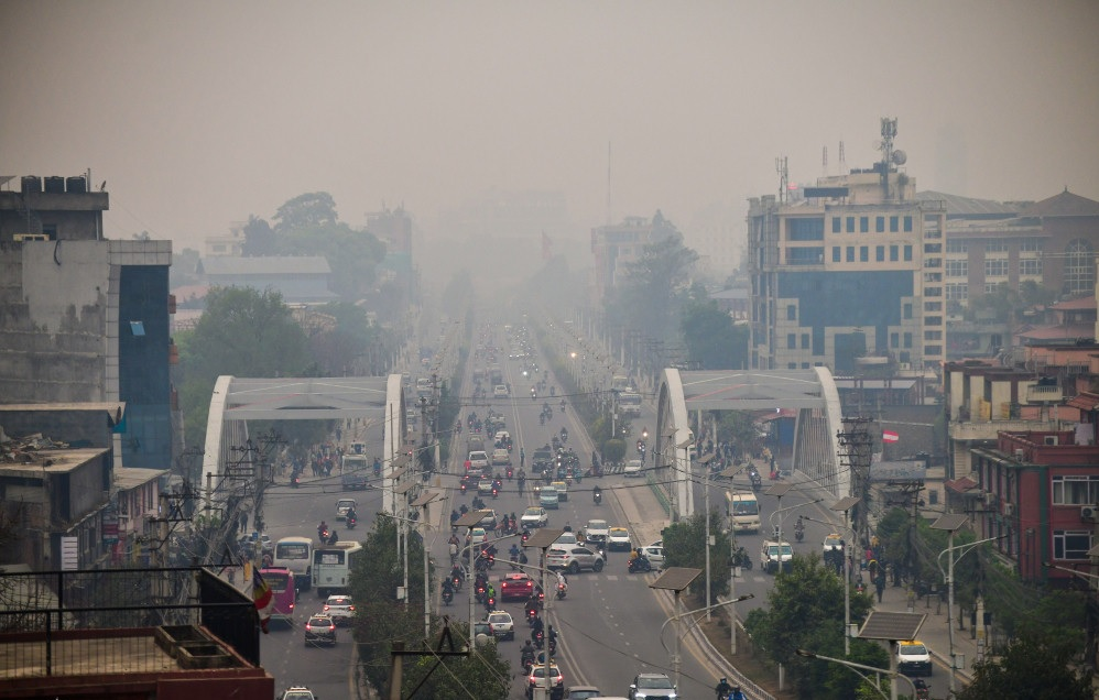 Haze engulfs Kathmandu valley as the air pollution increases to unhealthy levels