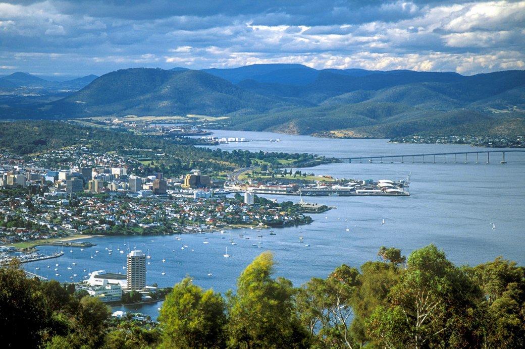 Hobart, capital of Australia's island state of Tasmania, sits on the River Derwent.