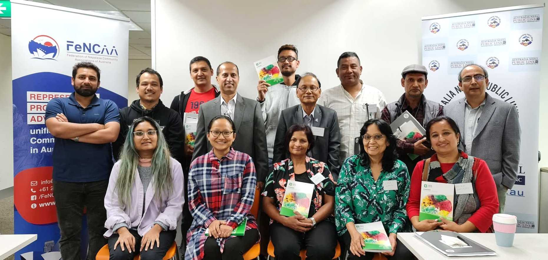 Nepalese Community Members from Canberra attending Mental Health First Aid Training jointly organised by Australia Nepal Public Link (ANPL) and Federation of Nepalese Community Associations of Australia Inc. (FeNCAA)