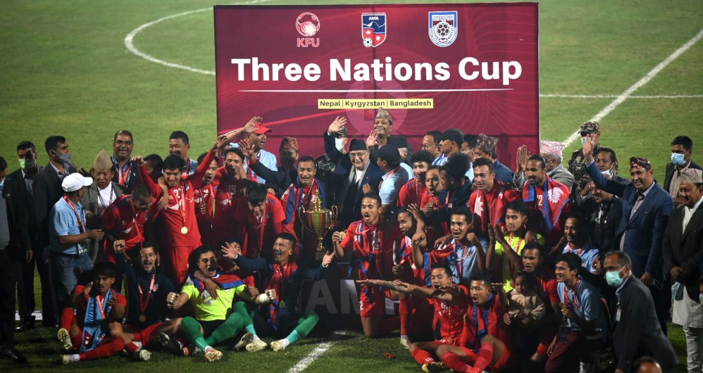 Three Nations Cup 2021- Nepal lifts trophy with 2-1 against Bangladesh