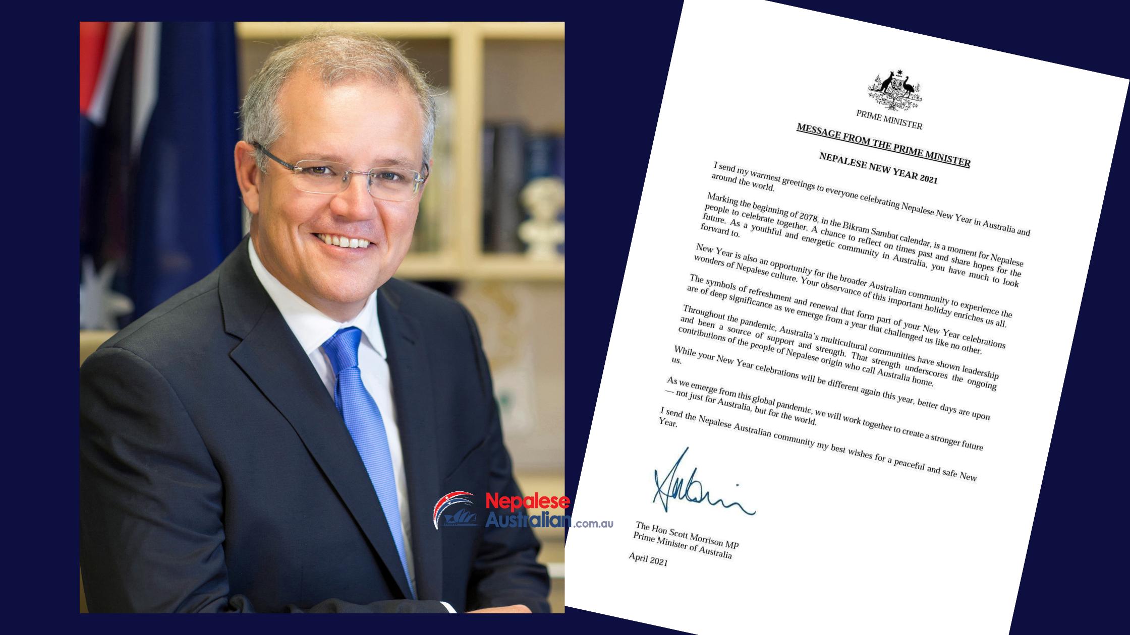 Nepali New Year 2078 Greetings Message from Australian Prime Minister Scott Morrison