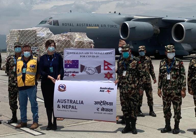 Australia's Ambassador to Nepal HE Felicity Volk handed over the equipmentto Nepal Army Chief of General Staff, Lt Gen Prabhu Ram Sharma, at the Tribhuvan International Airport.
