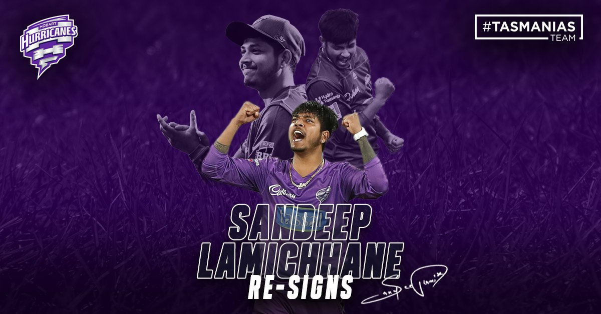 Nepalese spin sensation, Sandeep Lamichhane, will return to the Hobart Hurricanes for KFC BBL11.