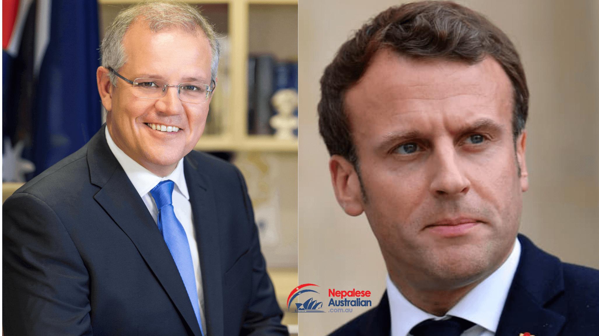 Australian Prime Minister Scott Morrison and French President Emmanuel Macron