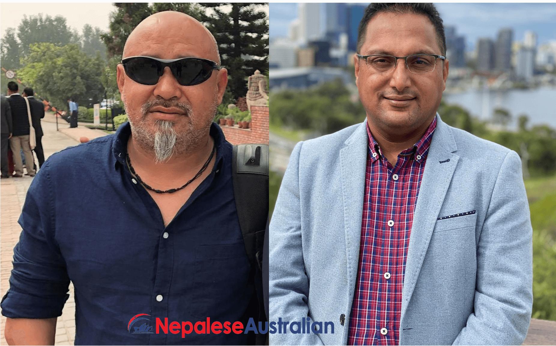 NRNA ICC Sports central advisor Subash Shrestha (Left) and BhupalSitoula (Right), the outgoing NRNA Oceania sports coordinator