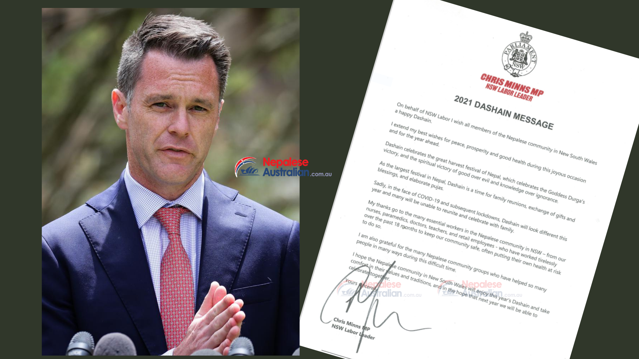 NSW Opposition Leader Chris Minns Extends Dashain Greetings to Nepalese Community
